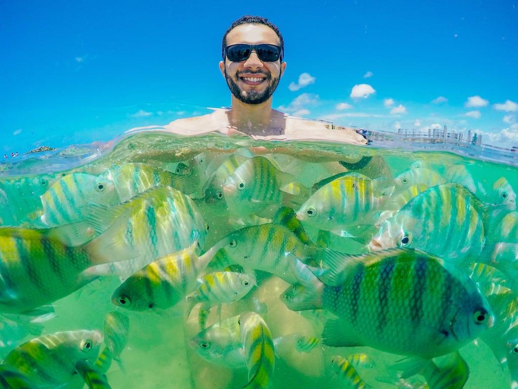 Os peixes e as água esverdeada do Atlântico no passeio pelas piscinas naturais de Picãozinho. Saiba mais sobre esse excelente passeio em João Pessoa, clique para ler! #JoãoPessoa #Picãozinho