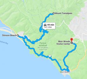 Mapa mostrando uma sugestão de passeio próximo a San Francisco. Veja mais no link! #mounttamalpais #SanFrancisco #DicasDeViagem