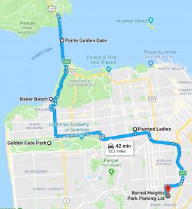 Mapa com um Roteiro de um dia passando por belos pontos de San Francisco, incluindo a Golden Gate e as Painted Ladies. #SanFrancisco Roteiro de 1 dia em San Francisco