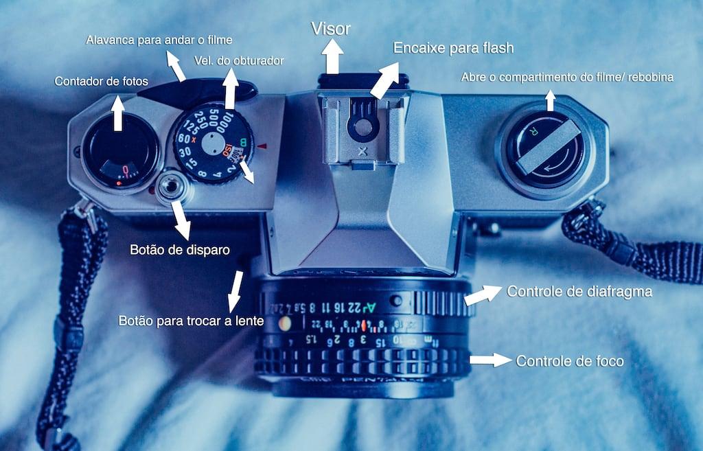 Aprenda a utilizar a Pentax K1000, bela câmera analógica que utiliza filme 35mm! Uma ótima SLR para aprender fotografia e produzir belas imagens. #pentaxK1000
