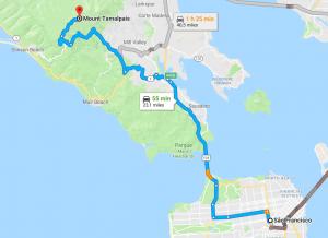 Mapa mostrando o caminho de San Francisco até o Mount Tamalpais.