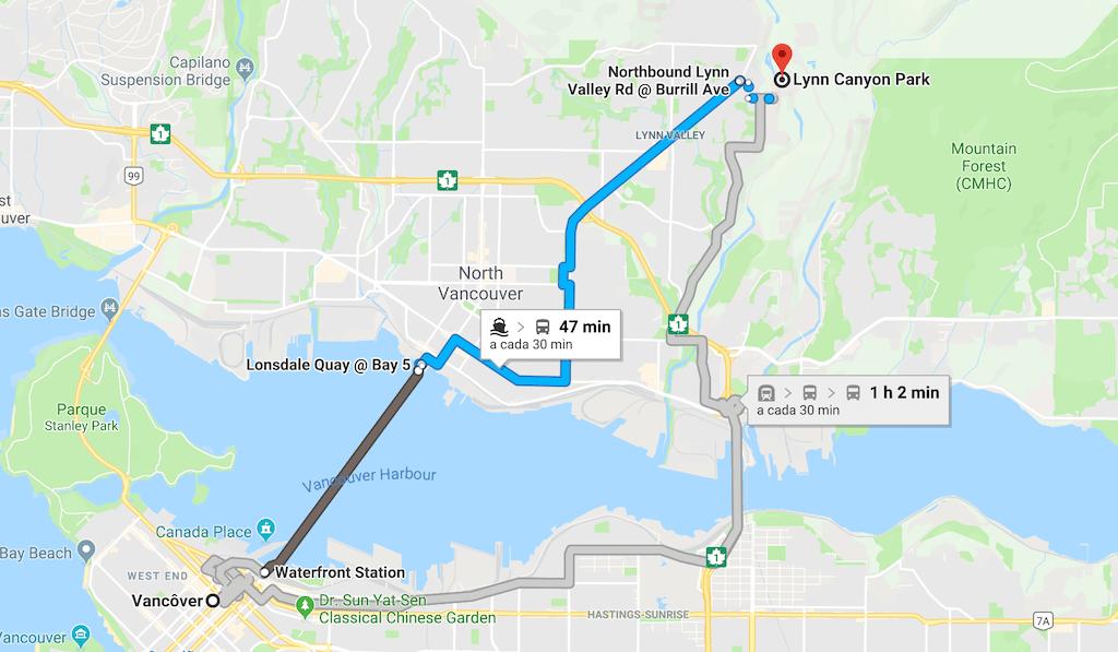 O mapa mostra o caminho do centro de Vancouver até o parque Lynn Canyon, utilizando o transporte público. Saiba mais sobre esse belo parque no link!