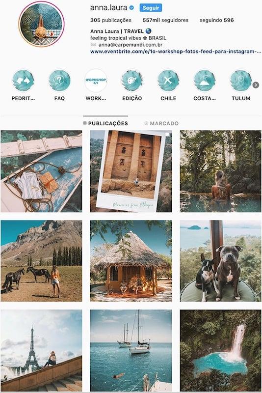 O perfil da @anna.laura no instagram! Conheça outras mulheres viajantes com fotos incríveis clicando no link!
