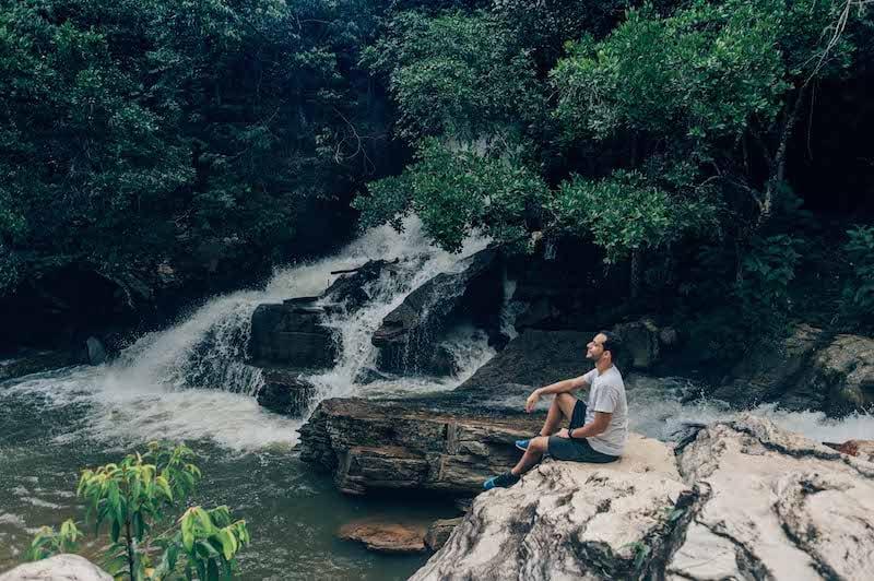 A maior queda da cachoeira da Usina Velha, em Pirenópolis. Veja mais sobre esse belo lugar!