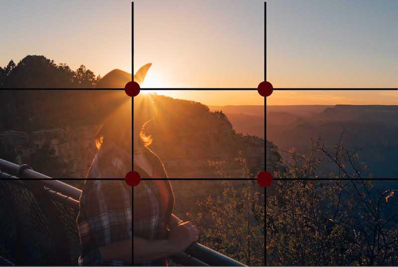 Exemplo de foto na regra dos terços, que consiste em colocar o foco principal em um dos pontos marcados em vermelho. Veja mais dicas de fotografia no link!