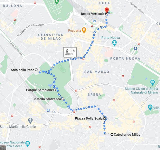 Mapa com nosso roteiro completo andando pela cidade.
